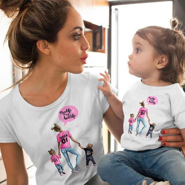 Cysincos Vrouwelijke T-shirt Famliy Bijpassende Kleding Meisje Kostuum Moeder Dochter Zomer 2019 Nieuwe Print Korte Mouwen Kinderen Jongens Tops