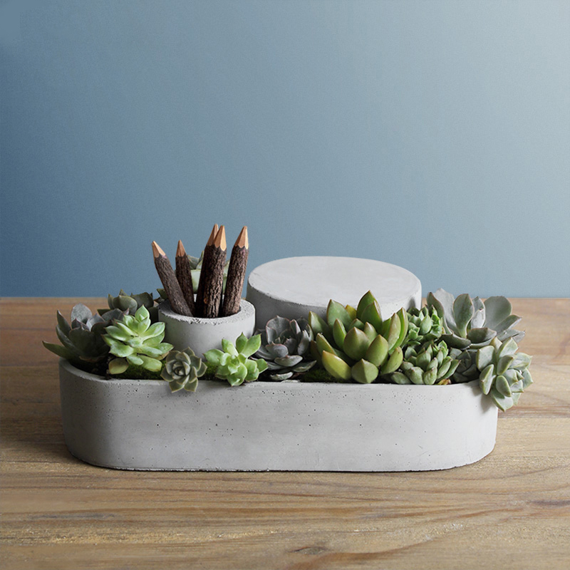Concrete container Mold  Cement flower pot silicone mold  cement base mold Simple home office cement mold