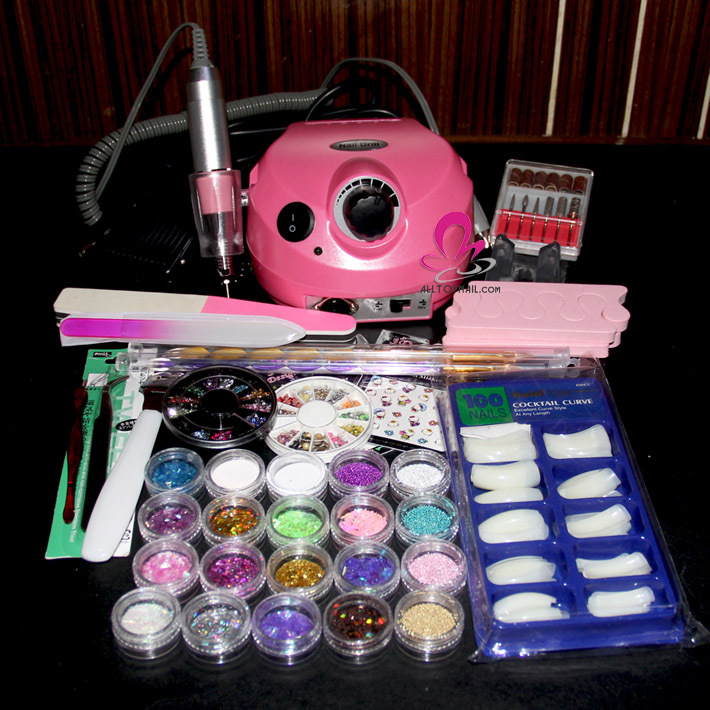 Nail Sets Kit Acrylic Powder US 202 Nail Drill Machine Nail Art Care ...