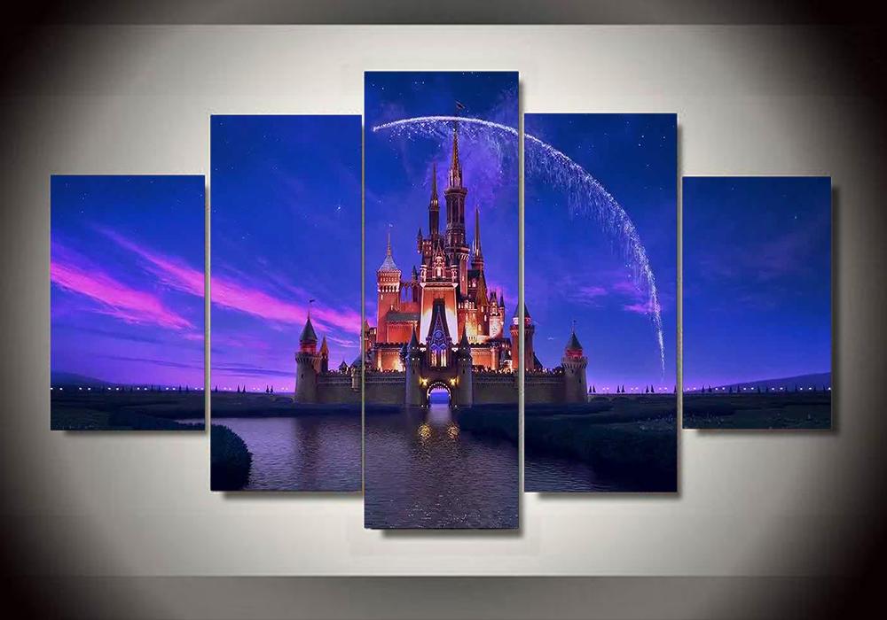 sin marco impresa de dibujos animados castillo unidades pintura arte de la pared para nios