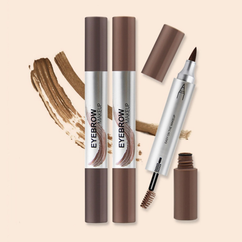 2 In 1 Eyebrow Dyeing Cream Liquid Eyebrow Pen Waterproof Smudge-Proof Long-Lasting Eyebrow Enhancer