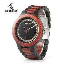 BOBO BIRD WO01O02 Reloj de Madera en Ébano Rojo, Relojes de Madera Pino en Dos Tonos para Hombre, Reloj de Cuarzo con Herramienta para Ajuste de Tamaño
