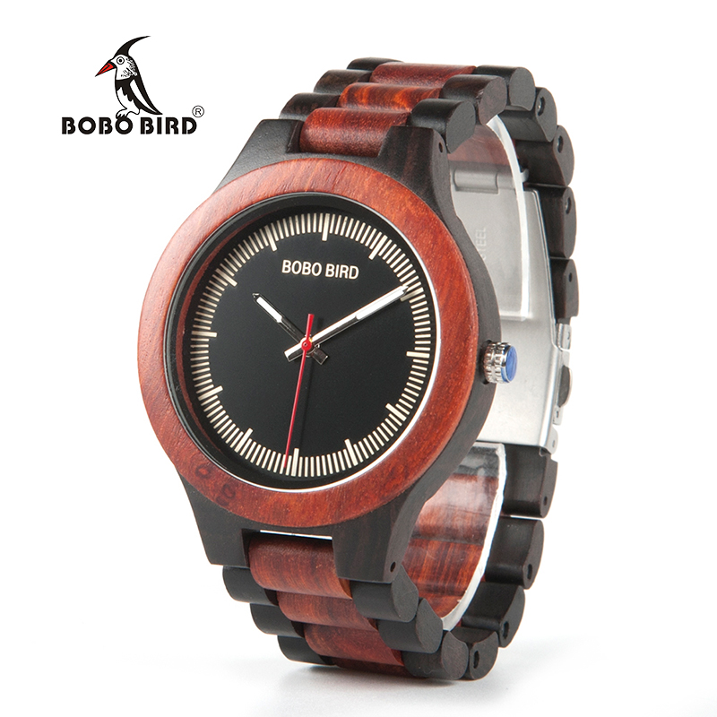 BOBO BIRD WO01O02 Wood Watch Ebony RedWood Pine Wooden Watches for Men Two-tone Wood Quartz Watch with Tool for Adjusting Size bobo bird wh05 brand design classic ebony wooden mens watch full wood strap quartz watches lightweight gift for men in wood box