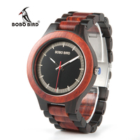 BOBO BIRD O01O02 Wood Watch Ebony RedWood Pine Wooden Watches For Men Two Tone Wood Quartz