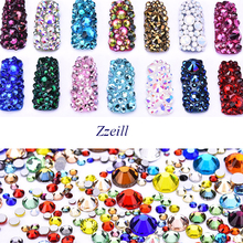 Zziell 800pcs Mix Size Colorful Nail Art Rhinestones Non Hotfix For DIY Decorations Cellphone Case Clothing
