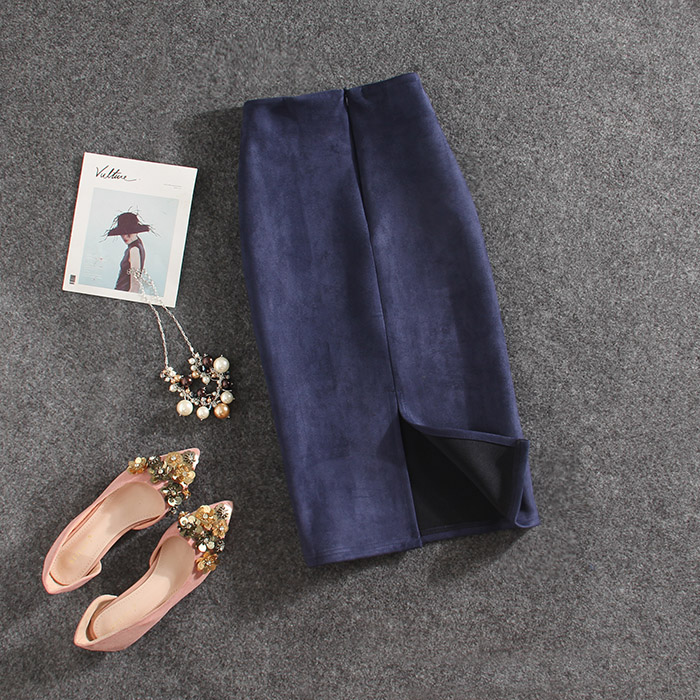 Deer Velvet Skirt Fashion Solid Color Office Formal Business Knee Length Summer Skirt Women 2019 A-line Skirt Female