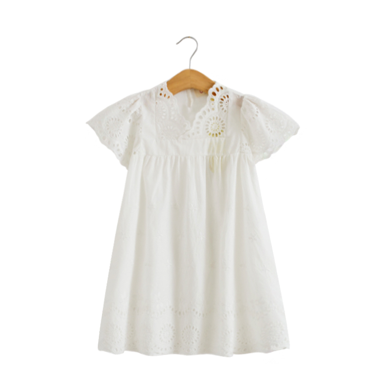 Girl Cotton Lace Dress For Kids 2018 Summer New Arrival Children Clothes White Lace Princess Korean Cute Thin Dress Size 100-140 see thru mini lace dress