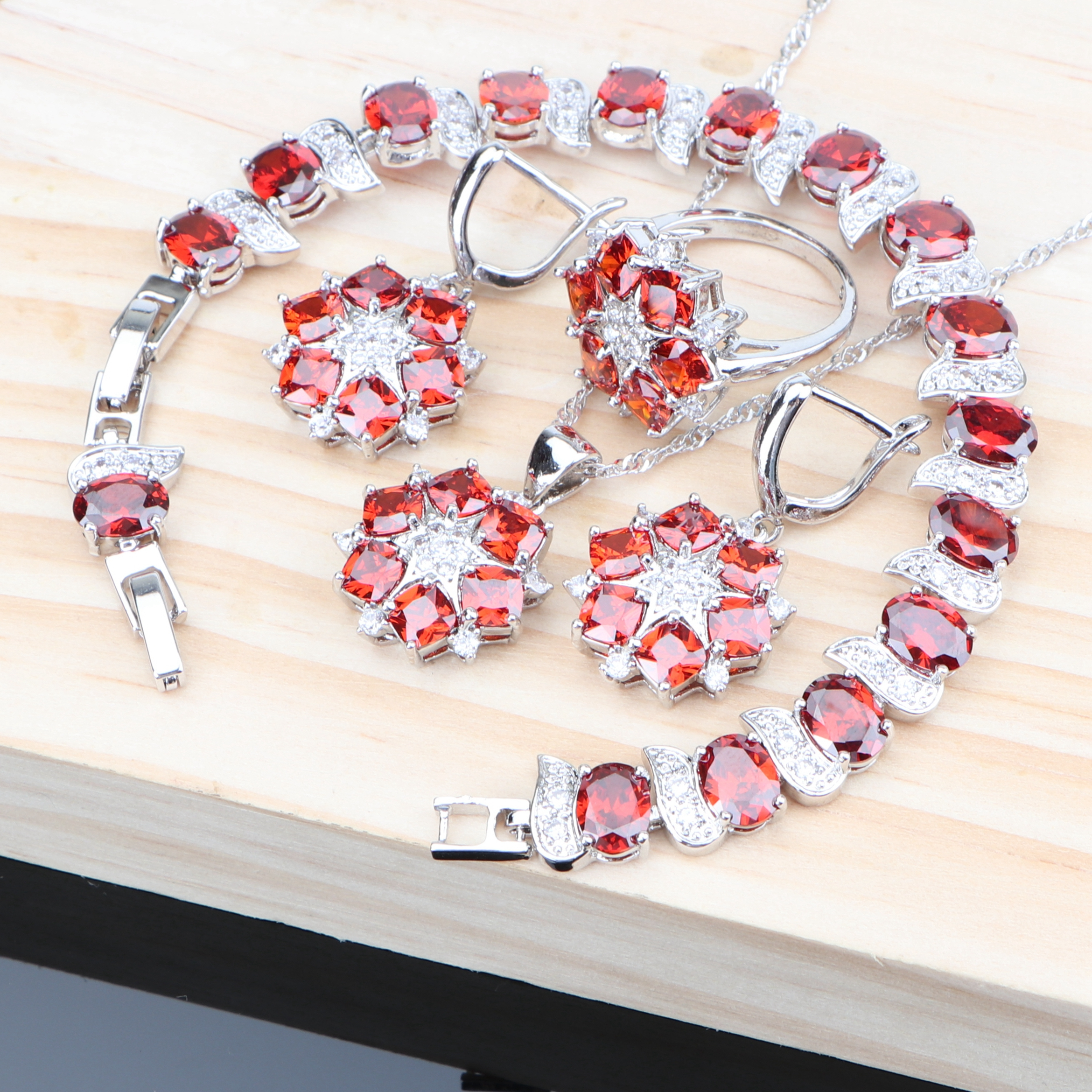 Wedding Red Zircon Silver 925 Jewelry Sets Women Bridal Costume Jewelry With Earrings Bracelet Ring Wedding Necklace Pendant Set