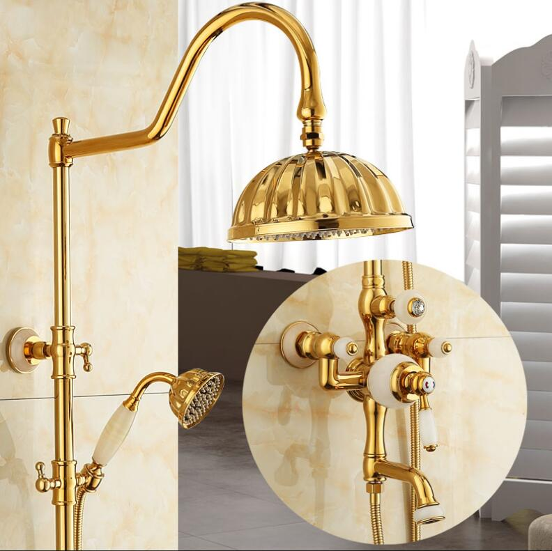 Europe style luxury bath and shower faucet brass and jade gold finished wall mounted shower faucet set with rainfall shower head-in Shower Faucets from Home Improvement    1