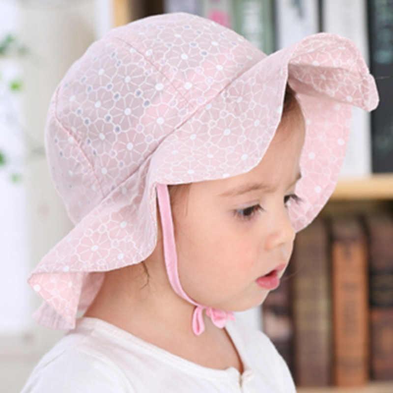 Bebé de verano al aire libre sombrero de cubo niños Floral imprimir Panamá de sol playa tapa encantadora princesa de encaje bebé chica sombrero de sol sombreros