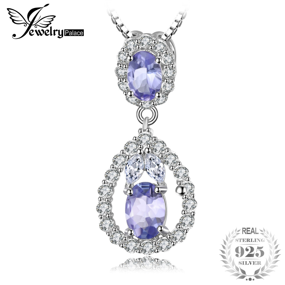 JewelryPalace Elegant 2.2ct Natural Tanzanites White Topazs Pendants For Women 925 Sterling Silver Jewelry Not Include A Chain