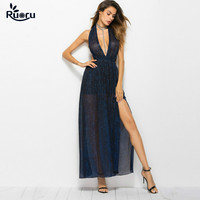 Ruoru Sexy Halter Women Dress Backless Party Long Dress V Neck Blue Robe Femme Club Star Runway Dresses European Style Blue