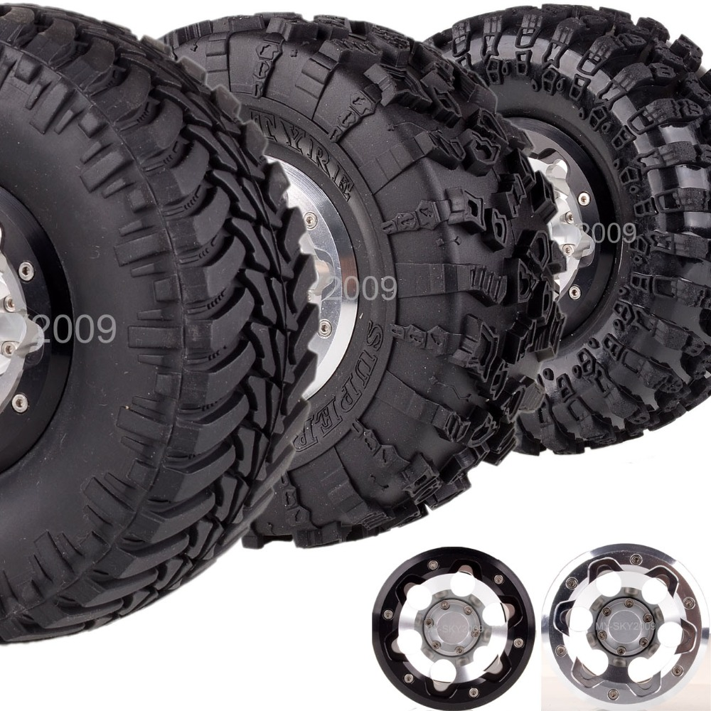 4pcs Aluminum 2.2 Bead lock Wheel Rim & Tire Tyres For 1/10th RC Model Truck Axial Traxxas HPI Bigfoot (2023A-3021-2-3) 1 5 traxxas x maxx wheels tire rc monster truck model madmax high quality tyres upgrade rim 4pcs