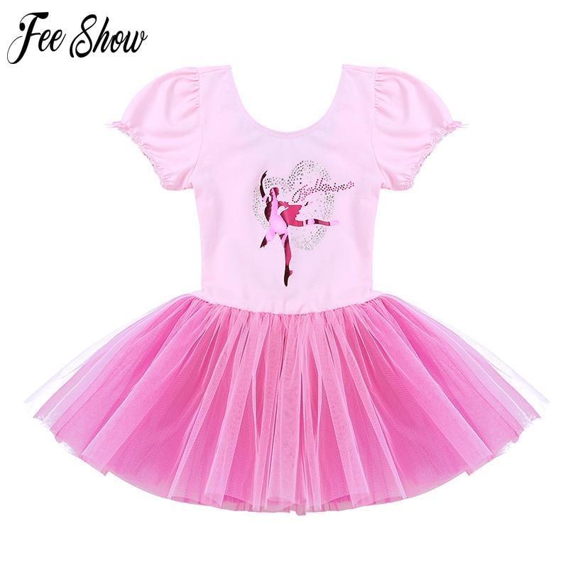 bfad8eeb698a Kids One Piece Short Sleeve Sparkle Rhinestone Dance Costumes Tutu ...