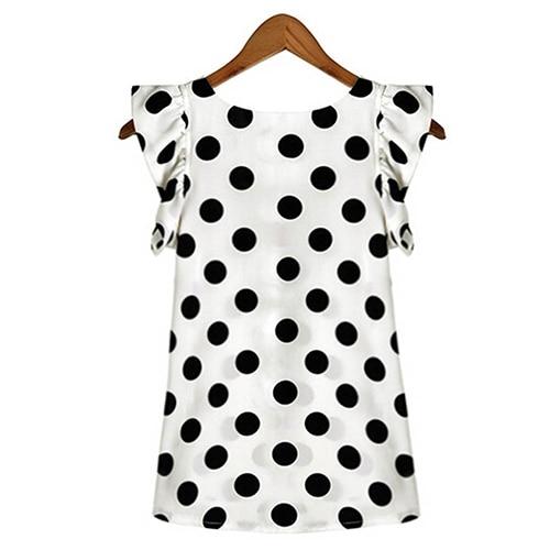 Hot Women Summer Casual Polka Dot Round Neck Short Sleeve Shirt Top Chiffon Blouse 2