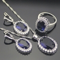 Blue Created Sapphire White Topaz 925 Sterling Silver Jewelry Sets For Women Sliver Earrings/Pendant/Necklace/Rings Free Box