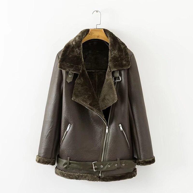FTLZZ 2020 nouveau hiver femmes en peau de mouton manteaux épaissir Faux cuir fourrure femme manteau fourrure doublure en cuir veste aviateur veste - 5