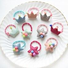 10Pcs/Lot Fashion Colorful Kids Crown Star Pattern Hair Holders Cute Rubber Hair Band Elastics Accessories Girl Charms Tie Gum