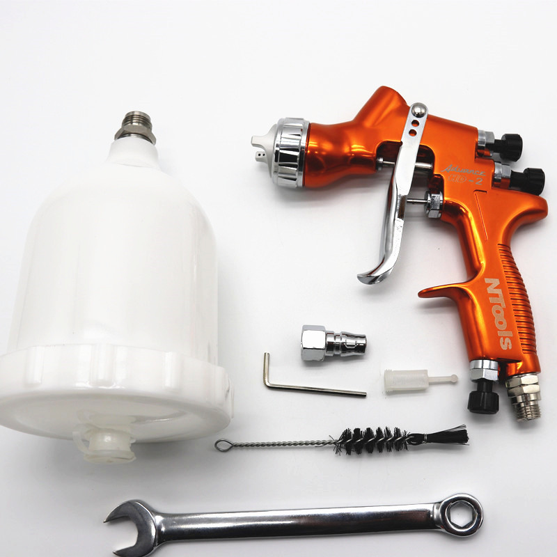 Free shipping Professional HD 2 HVLP Spray Gun Gravity Feed paint gun for all Auto Paint