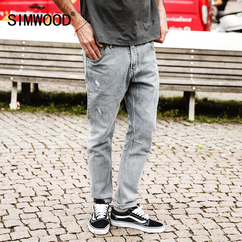 SIMWOOD 2018 Autumn Winter Biker Jeans Men Slim Fit Ripped Jeans Skinny Fashion Hole Denim Trousers High Quality NC017018 autumn men straight jeans plus size 28 to 34 patch hole denim trousers slim jeans