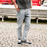 SIMWOOD 2017 Autumn Winter Biker Jeans Men Slim Fit Ripped Jeans Skinny Fashion Hole Denim Trousers