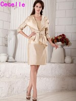 Champagne Sheath Short Knee Length Two Pieces Mother Of The Bride Dresses Suits With Jacket Strapless Vintage Taffeta Dress