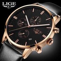 2017 LIGE Men S Fashion Business Quartz Watch Men Six Pin Stopwatch 3ATM Waterproof Leather Clock