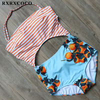 RXRXCOCO One Piece Swimwear Women Hollow Sexy Swimsuit Striped Monokini Halter Bandage Bathing Suit Female Padded