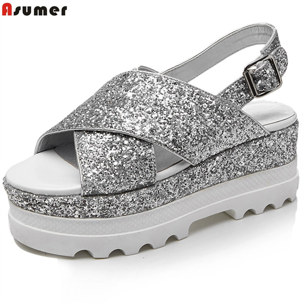 ASUMER 2018 fashion summer new women shoes flat with buckle genuine leather sandals buckle casual comfortable bling shoes free shipping fashion summer 2017 new women shoes casual genuine leather flat shoes breathable soft comfortable