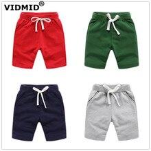 Vidmid детские мальчиков Шорты Яркие летние модные хлопковые брюки для маленьких мальчиков, однотонные пляжные шорты детские штаны Одежда 7060 04
