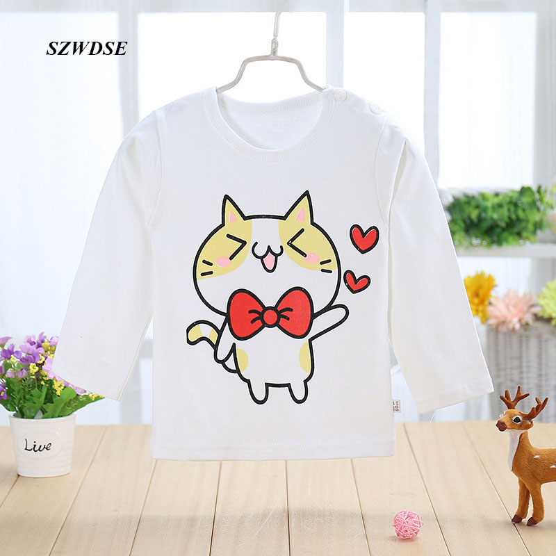 Child's spring autumn cotton sleepwear kids pajamas tops soft full-sleeve T-shirt nightwear for 2-6 years baby Free shipping