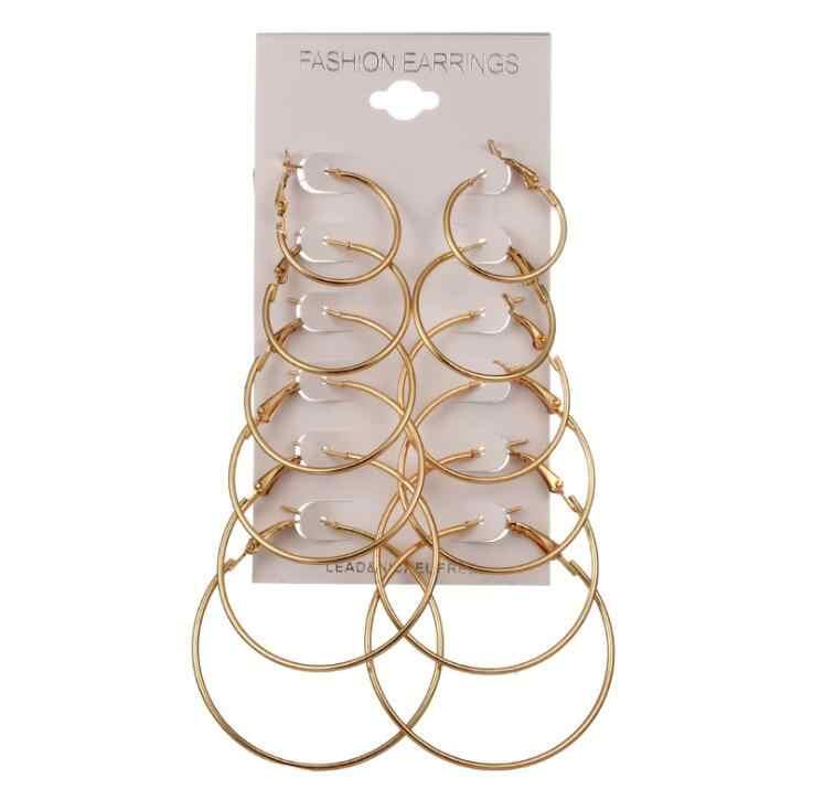 1 set 6 Pairs אופנה טרנדי העגול צבע זהב הרוק פאנק תכשיטי אוזן עגילי עגילי סט לאישה המפלגה גבירותיי נחמד מתנה