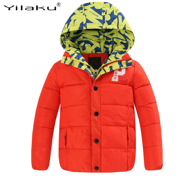 2017 Winter Down Jacket For Boy Fashion Winter Patchwork Warm Coats 2 Colors Kids Warm Cotton Padded Coat