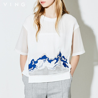 Ving T Shirts 2017 Summer Women T Shirt Cotton Embroidery Casual Straight Patchwork Sleeve O Neck