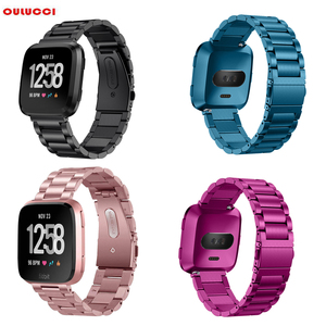 Image 1 - OULUCCI Classic Three Beads link Stainless steel Metal watch band Bracelet Strap Wristband Replacement Fitbit versa watch band