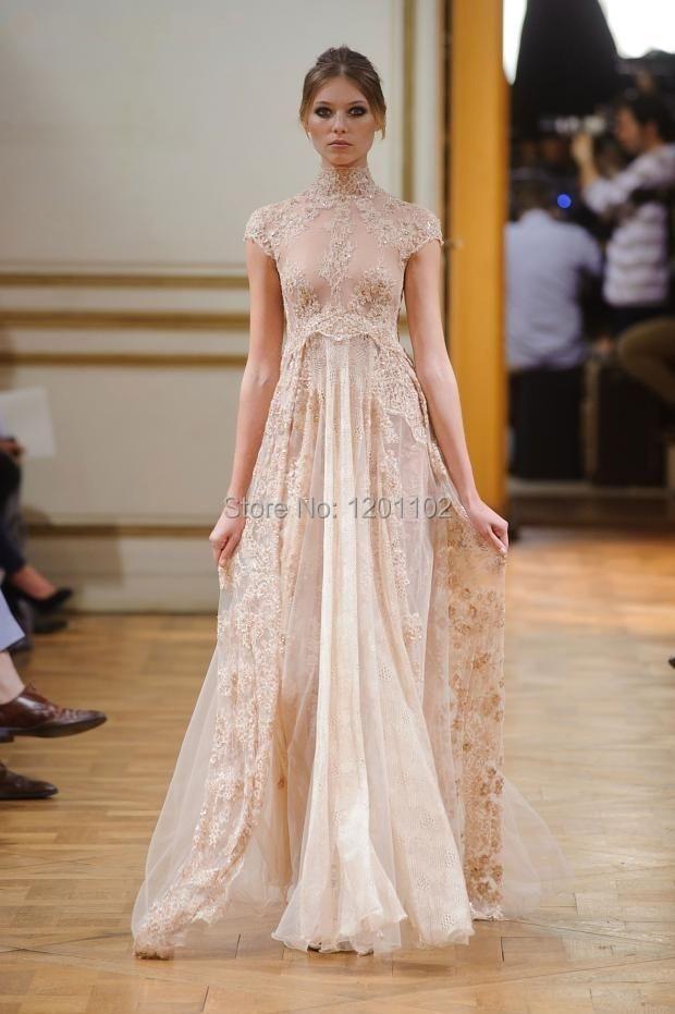 Robe De Soiree 2015 Vintage High Neck Lace Long Prom Dress Long Champagne  Colored Evening Gowns 2015 vestido de festa e2468b94f