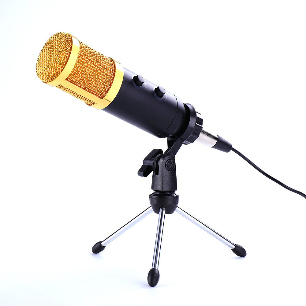 Professional BM-900 <font><b>Microphone</b></font> Studio Condenser MIC Built-in Reverb Chip w/ Tripod Stand Holder USB Wired for PC Laptop HD Sound image