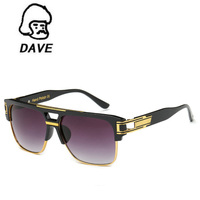 DAVE Vintage Metal Steampunk Sunglasses Men Brand Design Half Frame Sun Glasses Male Hip Hop Style