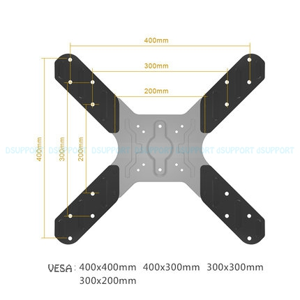 TV mount Extension VESA Adaptor from 200x200mm to 400x400mm for TV Mount and Monitor Holder ...