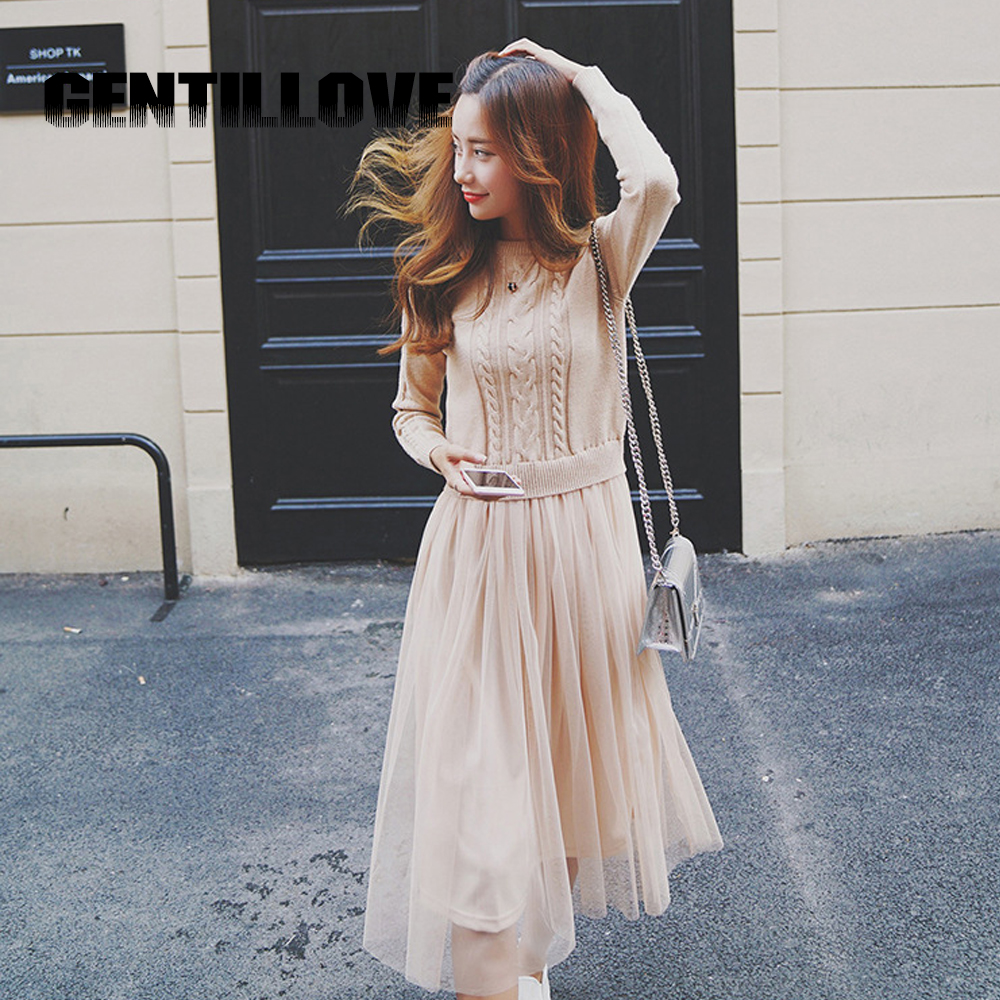 Gentillove Winter Dress for Women Sweater Lace Long Dress Elegant O Neck Knitted Mesh 2019 New Arrival