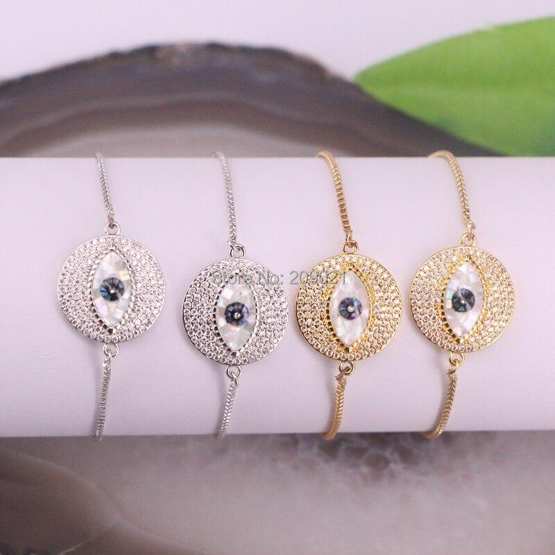 Wholesale 8Pcs Pave Cubic Zirconia Round Shape Shell Eye Adjustable Chain Bracelets Finding