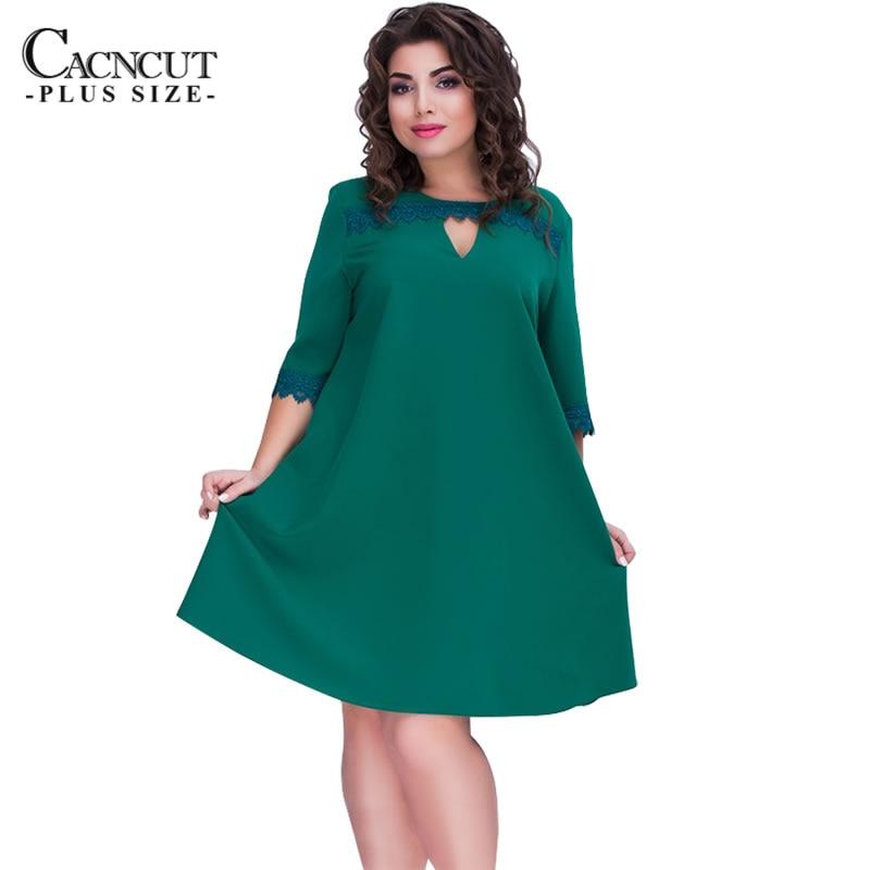 Altisanantapals Comprar Cacncut Plus Size 6xl Casual Vestido De Mujer Talla Grande A Line Estilo Verano Femenino 2018 Moda Tallas Grandes Vestidos Encaje Verde Online Baratos