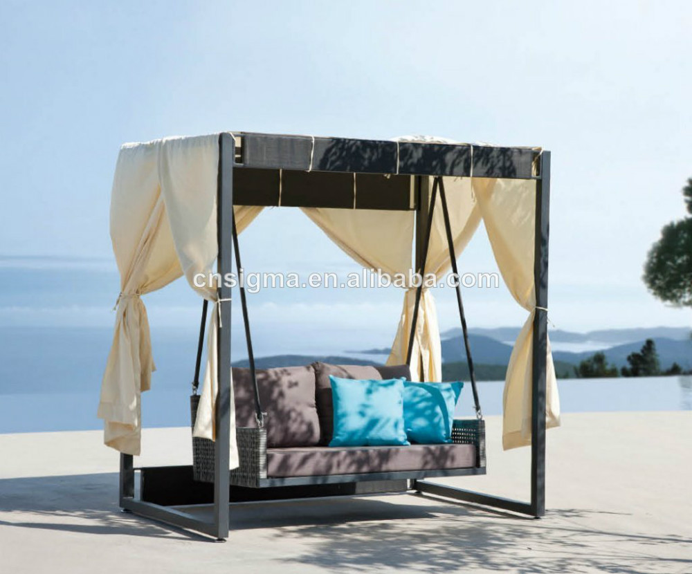 - Modern Style Rattan Sunbed Outdoor Canopy Swing Bed outdoor Rattan