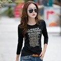 Novos 2016 T Shirt Mulheres T-shirt Longos Da Luva Para As Mulheres Inverno de algodão Moda Casual Básico Tops Tees Carta Impressão Feminino T-shirt