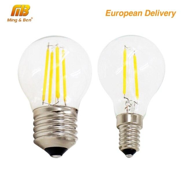 4pcs G45 4W E27 E14 LED Filament Bulb AC220V Retro Loft Style Fit For Chandelier Light Decoration Ship from Spain  Warm White