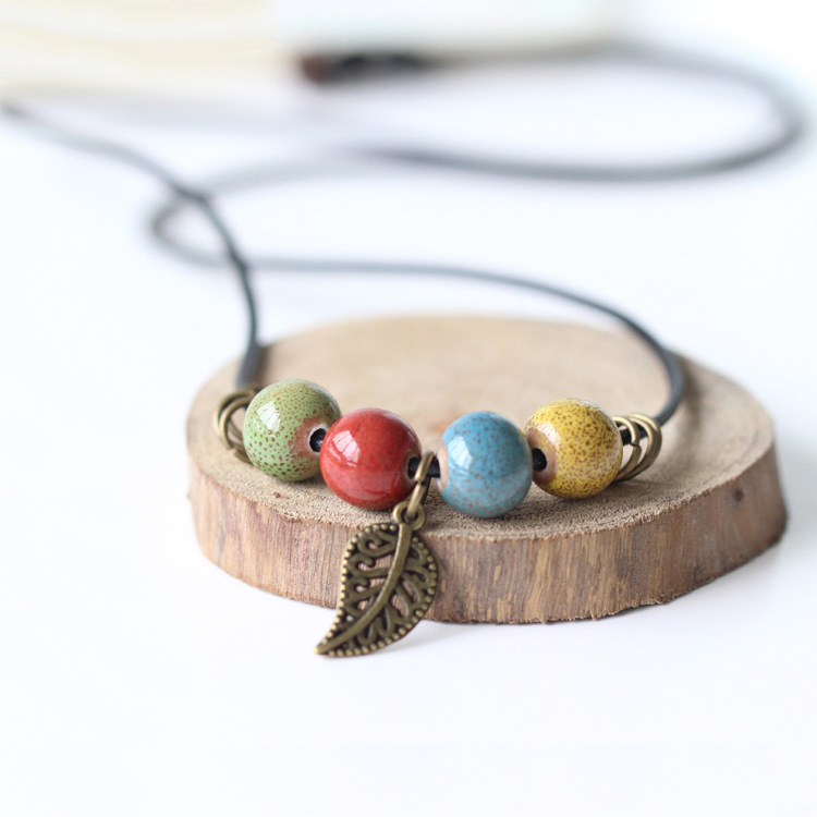 10pcs/lot manual DIY ceramic short necklace women's national style fashion accessories wholesale spring and summer chain