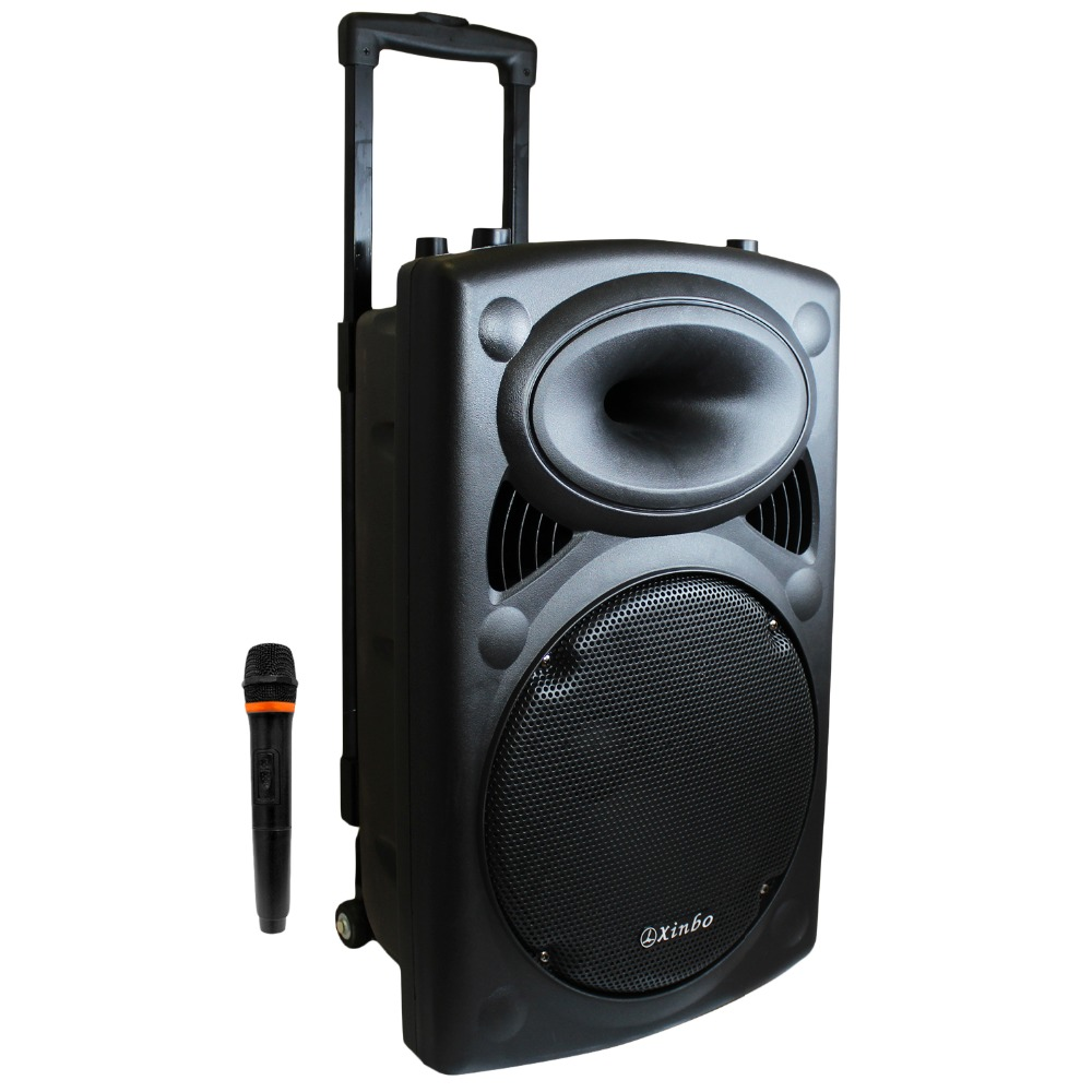 Bluetooth Karaoke Speaker Portable Trolley with Wheel Wireless Microphone MP3 Radio High Power for Parties woofer size 3.5