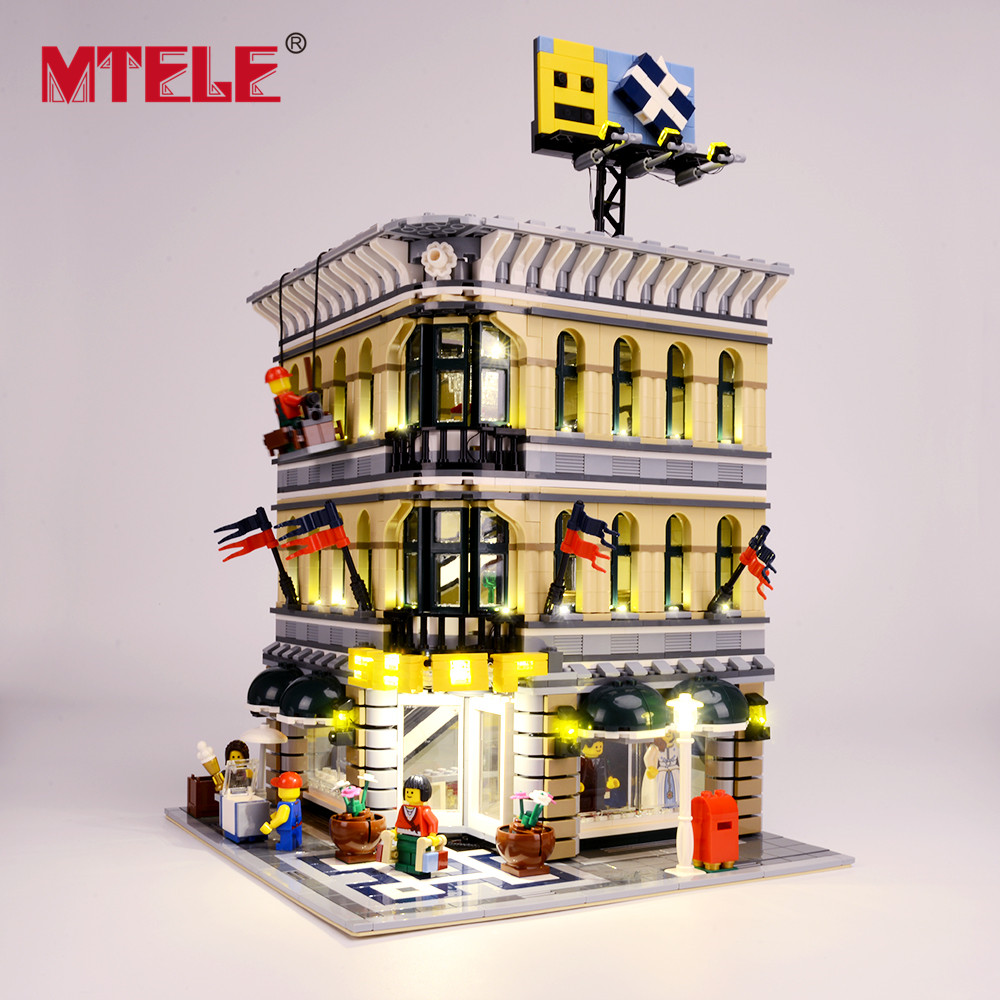 MTELE Brand LED Light Up Kit For Grand Emporium Blocks Compatible With 10211 For Kids Christmas Gift (Not include the model)-in Blocks from Toys & Hobbies