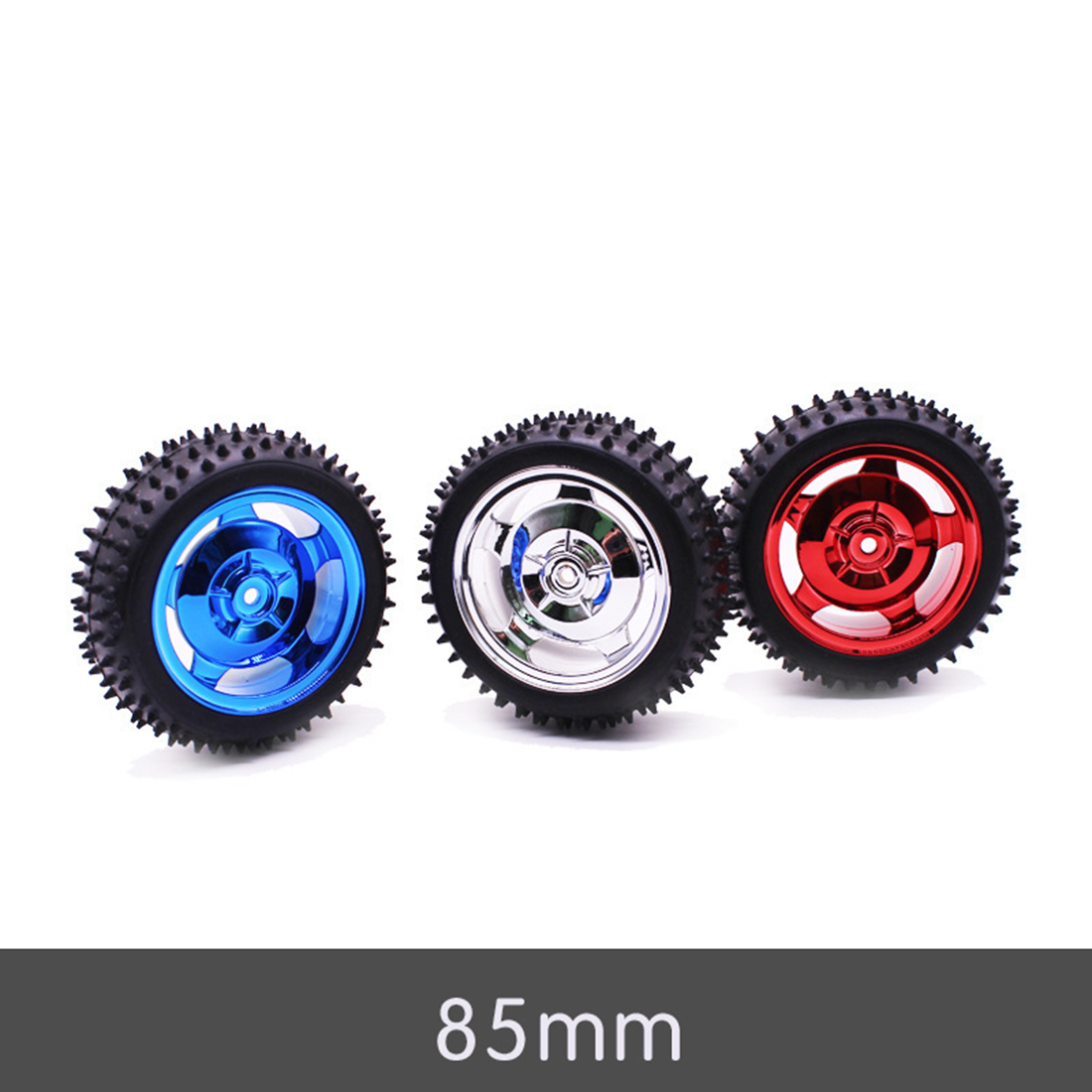 MODIKER High Tech 85mm Off-road Tyre DIY Intelligent Robot Car Wheel Programming Toy Car Tire With Liner  - Electroplating Red