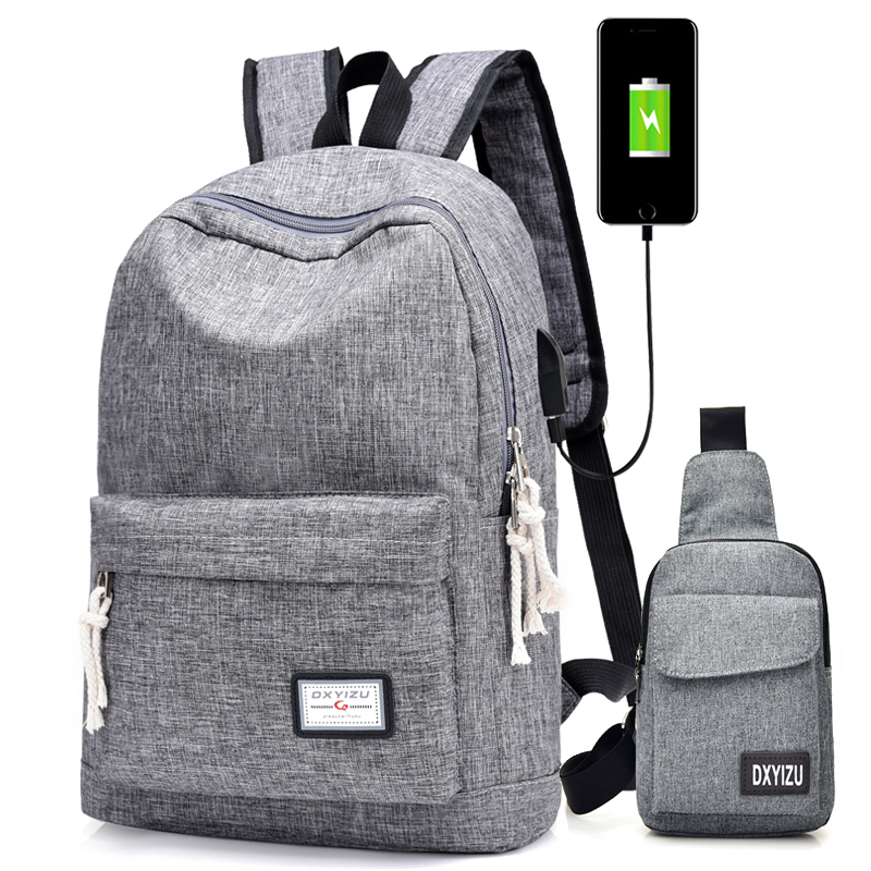 2018 Casual Mens USB Charging Backpacks Male Travel women Teenagers Unisex Student School Bags Simple Notebook Laptop Backpack